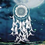 Honearn Traumfänger,  handgefertigt, mittelgroßer weißer Traumfänger mit natürlichen Federn für Wandbehang, Dekoration, Ornament (weiß)