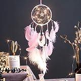 Smoro Feder Traumfänger Mobile LED Lichterketten batteriebetriebene hängende Ornamente rosa Getaucht Glitzerfedern böhmischen Hochzeitsdekorationen, Boho chic, Kinderzimmer Dekor