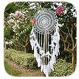 EasyBravo Traumfänger, groß, Boho-Stil, mit weißer Feder, Makramee, Wandbehang für Vintage, Hochzeit, Heimdekoration, 35 cm, rund, 115 cm lang, Weiß