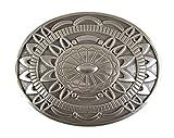 Veri Azteken Gürtelschnalle Indianische Muster Buckle Gürtelschließe Geschenk Idee zeitloser Indianer Schmuck Schliesse 8,5 x 6,5 cm für 4 cm Gürtel Riemen one size cm :