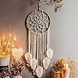 Traumfänger Dreamcatcher Handgefertigt, Großer Boho Traumfänger mit weißer Makramee Wandbehang Ornament für Baby Shower Car Hochzeit Home Schlafzimmer Wohnzimmer Dekoration