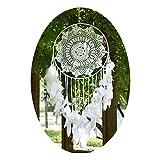 EasyBravo Große Boho Traumfänger Weiße Feder Makramee Wandbehang Vintage Hochzeit Hauptdekorationen 40cm Kreis 115cm Lang
