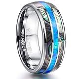 NUNCAD Herren Damen Ring Silber aus Wolfram mit Muschel + Blauem Opal für Hochzeit Verlobung Jubiläum Partnerschaft Party Größe 54 (14)