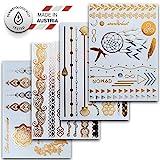 Temporäre Metallic Klebe-Tattoos, versch. Sets Dermatologisch getestet & Made in EU (4er Set mit 46 Motiven)