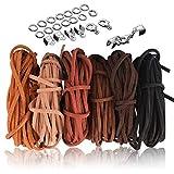 SOSMAR 5M x 3mm Lederschnur Lederband Veloursleder Band Faden für DIY Armband Halskette Schmuck Handwerk, 6er Set mit 100pcs Schnurenden