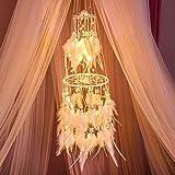 HitTopss Traumfänger-Dekoration mit warmem LED-Lichterkette zum Aufhängen, Warmweiß Warm Light (Warm Light)