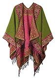 Schicker Damenponcho, Vintage-Umhang mit Schal und Quasten, traditionelles Muster Gr. One size, series 2 Green