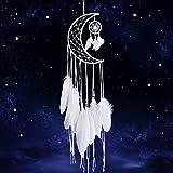 Dremisland Blau Traumfänger Handgefertigt Halbkreis Mond Entwurfs Dreamcatcher Federn mit Stern Wandbehang Ornament Festival Handwerk Geschenk (Weiß)