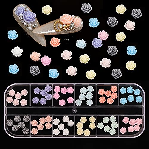 72 Stück Rose Nail Art Charms, 3D Mini...