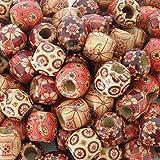 maDDma  100 Holzperlen 'Flower' 17x16mm Bastelperlen Schmuckperlen Perlen Holz Bedruckt