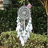 EasyBravo Traumfänger mit weißen Federn und blauen Perlen, Makramee, Wandbehang für Vintage-Hochzeit, Heimdekoration, 25 cm lang, 70 cm lang