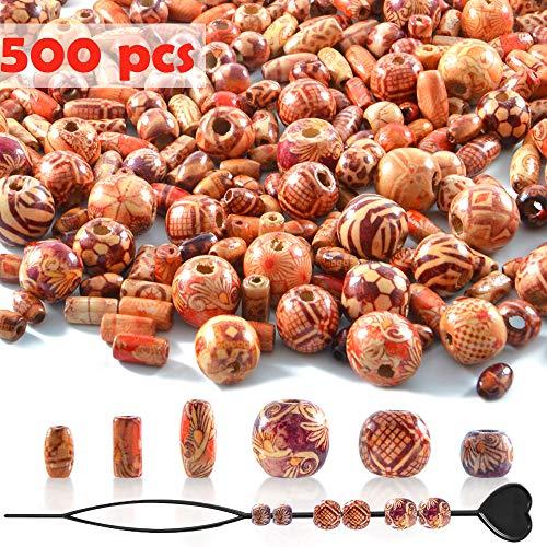 500 Stück Holzperlen mit 6 Größen,...